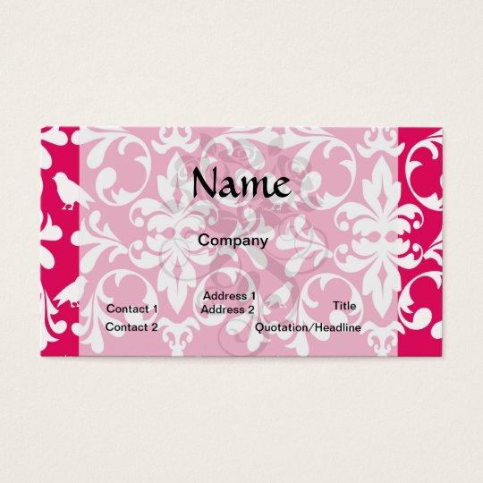 raspberry white bird damask business card