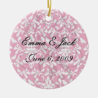 raspberry white bird damask ceramic ornament