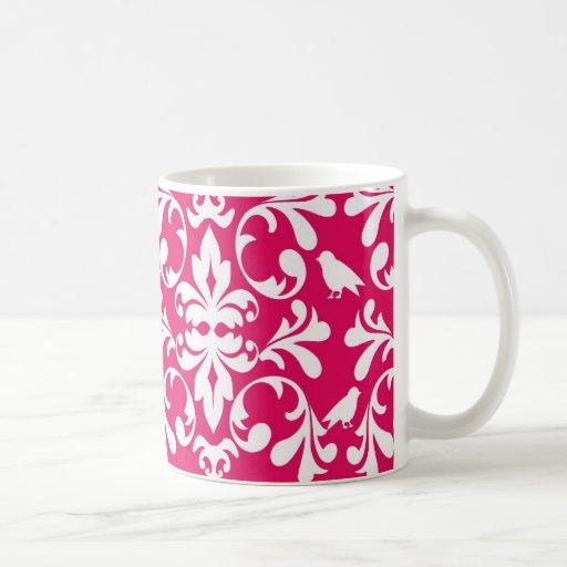 raspberry white bird damask coffee mug
