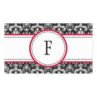 Raspberry & White Classic Damask Mommy Calling / Double-Sided Standard Business Cards (Pack Of 100)
