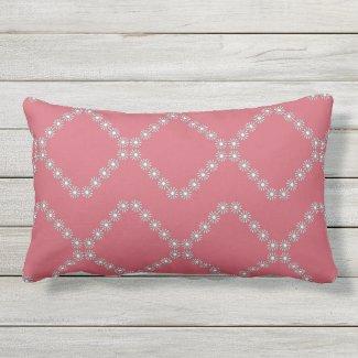 Raspberry White Daisy Lattice Lumbar Pillow