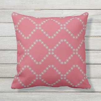 Raspberry White Daisy Lattice Outdoor Pillow 16x16