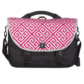 Raspberry White Med Greek Key Diag T Pattern #1 Laptop Messenger Bag