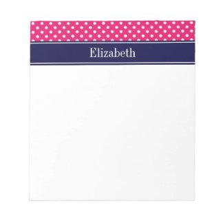 Raspberry White Polka Dots Navy Blue Name Monogram Notepad