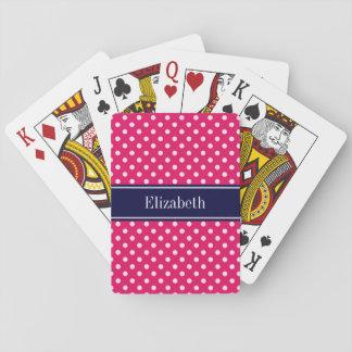 Raspberry White Polka Dots Navy Blue Name Monogram Playing Cards