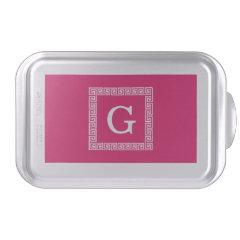 Raspberry Wht Greek Key Frame #1 Initial Monogram Cake Pan