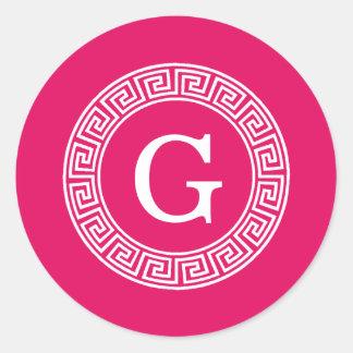 Raspberry Wht Greek Key Rnd Frame Initial Monogram Classic Round Sticker