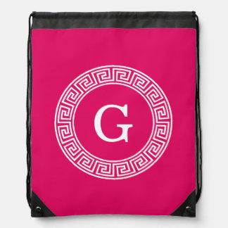 Raspberry Wht Greek Key Rnd Frame Initial Monogram Drawstring Backpack