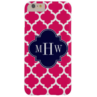 Raspberry Wht Moroccan #5 Navy 3 Initial Monogram Barely There iPhone 6 Plus Case