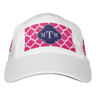 Raspberry Wht Moroccan #5 Navy 3 Initial Monogram Headsweats Hat