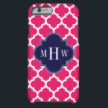 "Raspberry Wht Moroccan #5 Navy 3 Initial Monogram Tough iPhone 6 Case<br><div class=""desc"">Raspberry and White Moroccan Quatrefoil Trellis Pattern #5, Navy Blue Quatrefoil 3 Initial Monogram Customize this with your 3 initial monogram, name or other text. You can also change the font, adjust the font size and font color, move the text to adjust letter spacing, etc. Please note that this is...</div>"