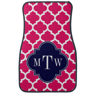 Raspberry Wht Moroccan #5 Navy 3 Initial Monogram Car Mat