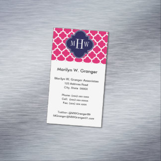 Raspberry Wht Moroccan #5 Navy 3 Initial Monogram Magnetic Business Cards (Pack Of 25)