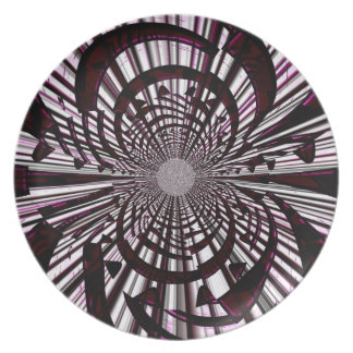 Raspberry Zebra Fractal Party Plates