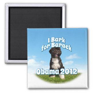 Raspo para Barack, BO el primer perro Obama Imán Cuadrado