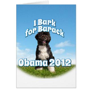 Raspo para Barack, BO el primer perro Obama Tarjeta Pequeña
