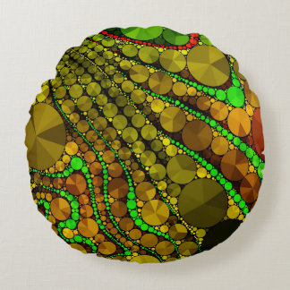 Rasta Abstract Bling Pattern Round Pillow