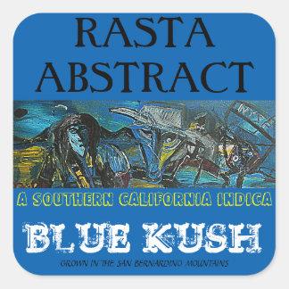 RASTA ABSTRACT BLUE KUSH SQUARE STICKER