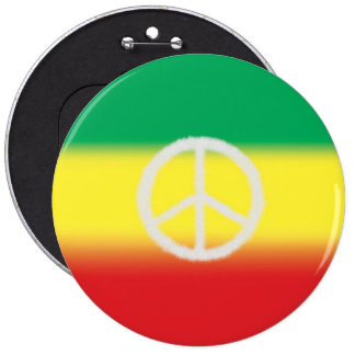 Rasta and Peace Sign Button (White)