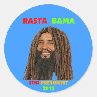 Rasta Bama, presidente Obama en Dreadlocks Etiquetas Redondas
