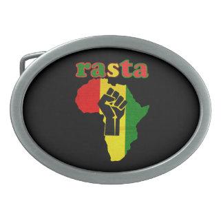 Rasta Black Power Fist over Africa Belt Buckle