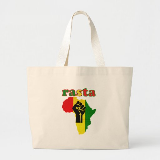 Rasta Black Power Fist over Africa Canvas Bags
