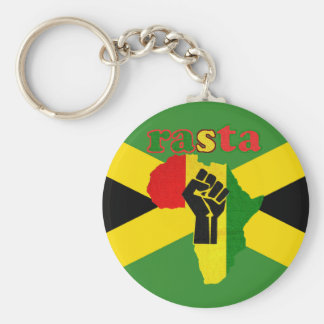 Rasta Black Power Fist Over Africa Keychain