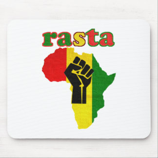 Rasta Black Power Fist over Africa Mouse Pad