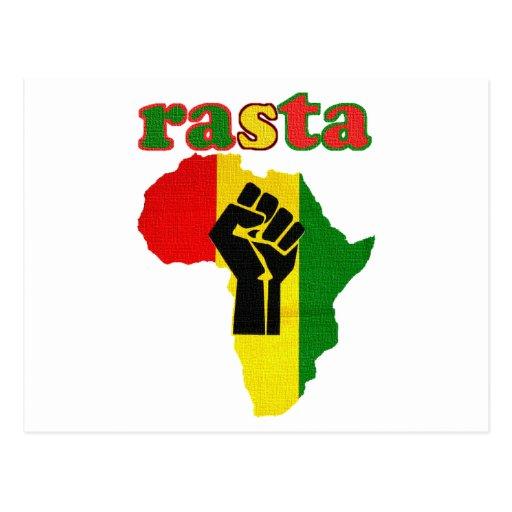 Rasta Black Power Fist over Africa Postcard