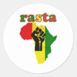 Rasta Black Power Fist over Africa Classic Round Sticker