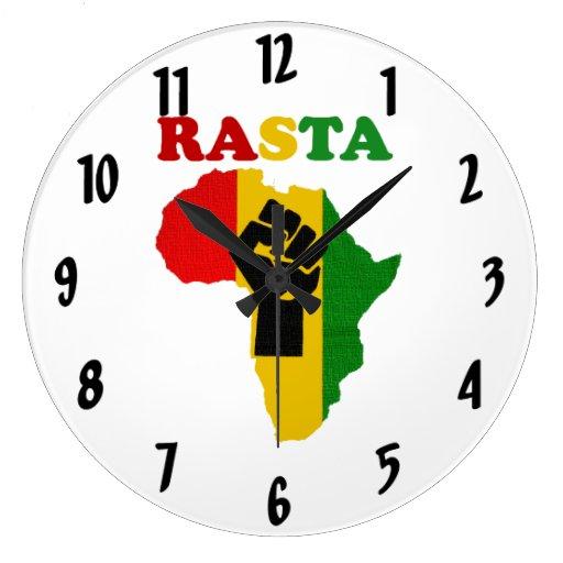 Rasta Black Power Fist over Africa Wall Clock
