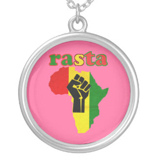 Rasta Black Power over Africa  Necklace Pink