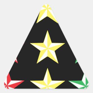 Rasta & Black Stars Triangle Sticker