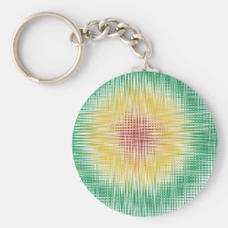 Rasta Bullseye Lines Basic Round Button Keychain