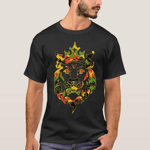 Rasta Camo Lion Dark T_Shirt