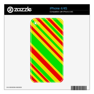 Rasta Candy Stripes Decal For The iPhone 4
