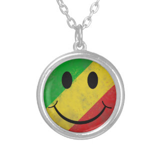 Rasta Classic Smiley Face Silver Plated Necklace