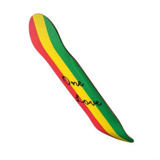 Rasta Color Green Yellow Red Flag Stripes One Love Skateboard