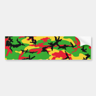Rasta Colored Camouflage Bumper Sticker