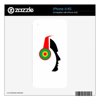 Rasta Colored Headphones Silhouette Decal For iPhone 4