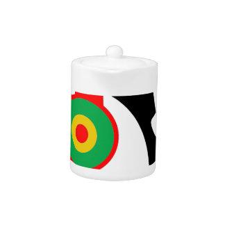 Rasta Colored Headphones Silhouette Teapot