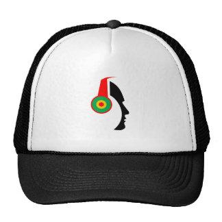 Rasta Colored Headphones Silhouette Trucker Hat