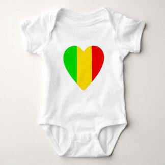 Rasta Colored Heart Baby Bodysuit