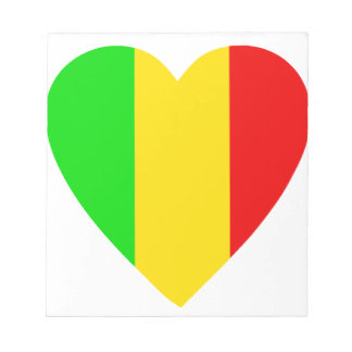 Rasta Colored Heart Notepad