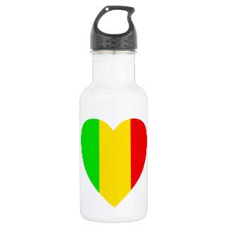Rasta Colored Heart Stainless Steel Water Bottle