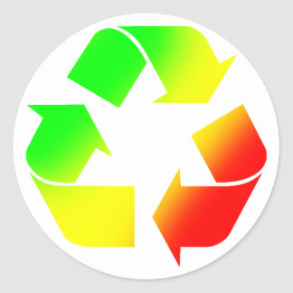 Rasta Colored Recycle Sign Classic Round Sticker