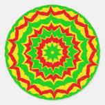 Rasta Colored Spikey Rings Round Sticker