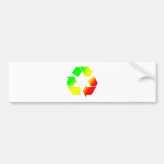 Rasta coloreó recicla la muestra etiqueta de parachoque