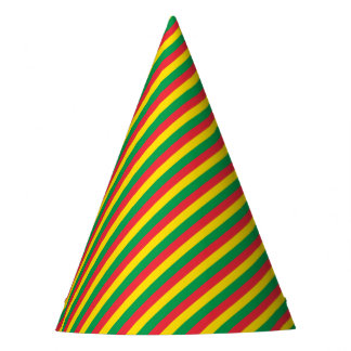 Rasta Colors Green Yellow Red Stripes Flag Pattern Party Hat