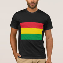 Rasta Colors Green Yellow Red Stripes Flag Pattern T-Shirt